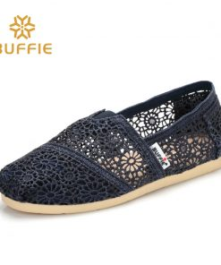 BUFFIE female slip on shoes women flat summer loafers breathable basic shoes girl classic colours casuals fabric soft lady shoes 1