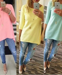 2015 Hot Fashion Women Casual  Loose Long Sleeve T-Shirt Autumn Cotton Solid Slim T Shirt  Plus Size Candy Colors T Shirts A110