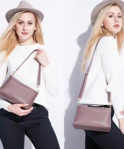 REALER women shoulder messenger bags genuine leather handbag female fashion crossbody bag ladies solid small tote bag purse 1