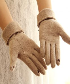 VISNXGI 2018 Design Fashion New Brand Women's Winter Wool Gloves Elegant Warm Touched Bow Glove Mittens Cashmere Mitaine Guantes 1