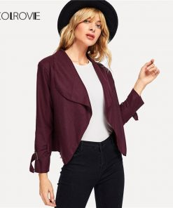 COLROVIE Burgundy Work Buckle Detail Sleeve Short Jacket Women 2018 New Grey Feminino Coats Outwear Fashion Women Coat Clothes   1