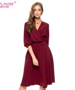 S.FLAVOR Women Solid Color V-neck A-line Dress New Fashion Autumn Winter Lantern Sleeve Waist Vestidos female Elegant Sexy Dress 1