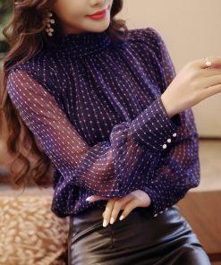Chiffon women blouse shirt new fashion 2018 long sleeve dot print purple women's clothing sexy office lady tops blusas D468 30 1