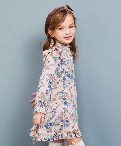Balabala summer dress for girls princess o-Collar Dresses for children kids clothing girls long sleeve Knee-Length dresses  1