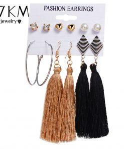 17KM Bohemia Long Tassel Dangle Earrings Set For Women Crystal Heart Creole Earring Fabric Female Fashion 2018 New Jewelry