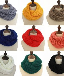 2018 Female Scarves Fashion Women Scarf Solid Autumn Crochet Blend Wrap Ring Long Shawl Warm Winter knitted Circle Snood Ring