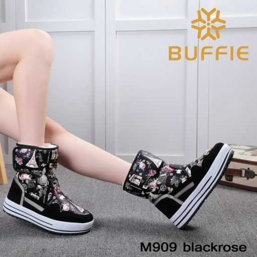 2018 New brand woman boots warm winter shoes flower waterproof wearing female fashion hot  thick fur high quality  buckle style 3