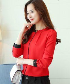 chiffon women Blouse Shirt 2018  Long Sleeve red women's clothing Office Lady blouse Women's Tops Ladies' shirt Blusas A91 30 1