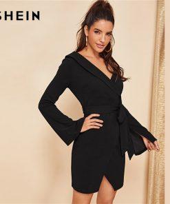 SHEIN Black Asymmetric Shoulder Wrap Dress Party Sheath Short A Line Plain Short Dresses Women Elegant Highstreet Autumn Dresses 1