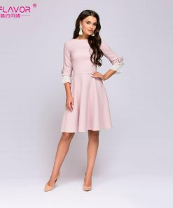 S.FLAVOR Vintage wave point short dress Hot sale Women pink O-neck half butterfly sleeve bow vestidos Casual women autumn dress 1