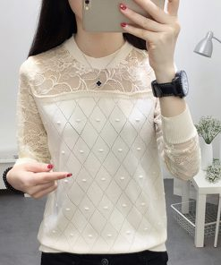 Autumn 2018 Womens Tops and Blouses Long Sleeve Knitted Lace Patchwork Blouse Women Shirts Ladies Tops Casual Blusa Feminina 1