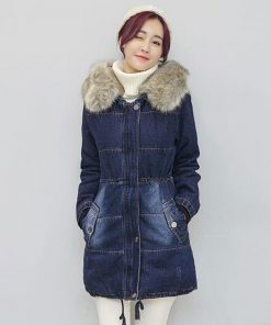 Very warm Denim Jacket for women 2018 European women long chaqueta winter jean Coat Female Hooded Thicken Jacket plus size Z5894