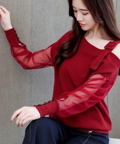 Autumn long sleeve shirt women fashion woman blouses 2018 sexy off shoulder top solid women blouse shirt clothing female 1224 40 1