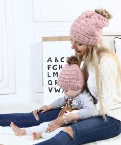 Mom and Me Cute Warm Hats Winter Wool Hat Crochet Knit Beanie Fur Pom Pom Hat Baby Boys Girls Cap Mom and Baby Matching Cap 1