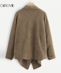 COLROVIE Brown Asymmetrical Waterfall Long Faux Fur Teddy Coat Women 2018 Autumn Office Warm Winter Elegant Female Lady Outwear 1
