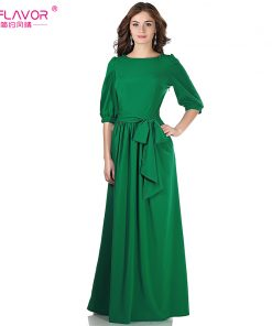 S.FLAVOR Women solid color long dress Elegant O-neck lantern sleeve casual vestidos for female 2018 women autumn winter dress
