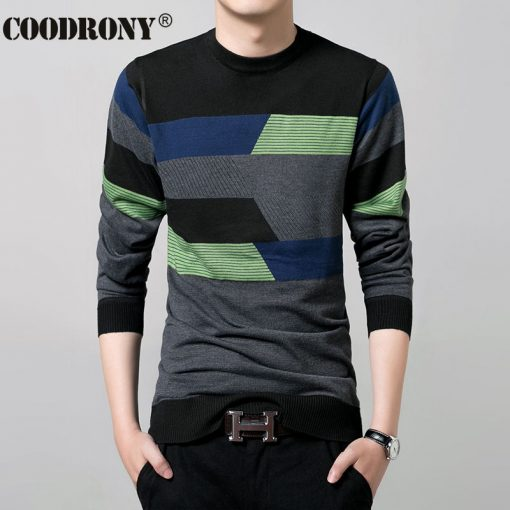 2017 New Autumn Winter Thin Sweater Men Wool Sweaters Knitted Cashmere O-Neck Pullover Shirt Men Casual Striped Pull Homme 66158 1