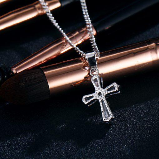 17KM Rose Gold Color Cross Pendant Necklaces For Woman Crystal Pendant Cubic Zirconia Long Necklace Bijoux Jewelry Wholesale 3