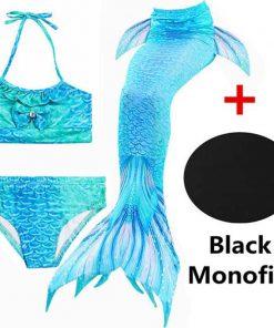 4 Pieces Mermaid Tails For Girls Swimming Kids Mermaid Costumes Swimmable Children Swimwear Zeemeerminstaart Met Monofin Cosplay