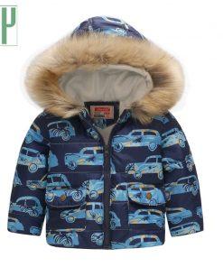 Kids winter jacket with fur Hooded dinosaur Printed rainbow children snow jacket Boy Windbreaker Outerwear Girls Parkas Coats  1