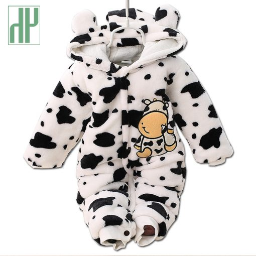3 6 9 12 months baby clothes cute winter warm longsleeve coral fleece infant Leopard cow animals clothes baby boy girl rompers  1