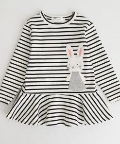 Bear Leader Girls Dress 2017 New Autumn Brand Girls Clothes Full Sleeve Strip Bunny Rabbit Applique Design Children Clothing  1