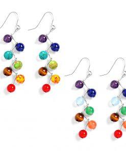 DIEZI Brincos Vintage Fashion Silver Plated  Bead 7 Chakra Healing Balance Drop Earrings Party Earrings for Women Jewelry Mujer 1