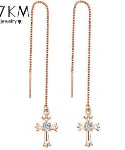 17KM Fashion Cubic Zirconia Cross Lock Drop Earrings For Women Rose Gold Color Long Tassel Dangle Earring Party Wedding Jewelry