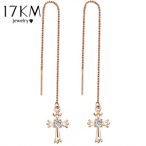 17KM Fashion Cubic Zirconia Cross Lock Drop Earrings For Women Rose Gold Color Long Tassel Dangle Earring Party Wedding Jewelry