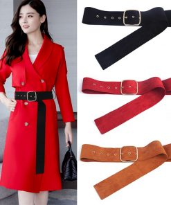 Newest brown coat belt women's belts long gold pin buckle sweater bundle jacket waist skirt waistband red Velvet soft strap belt 1