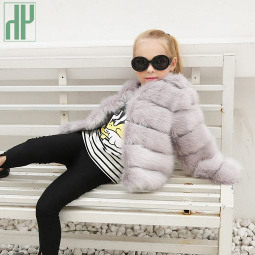 HH Girls fur coat Winter Elegant Baby Girl Faux Fur Jackets And Coats Thick Warm Parka Kids Outerwear Clothes jacket children 4