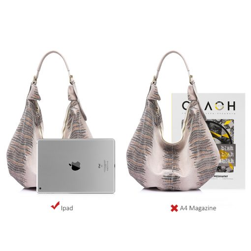 REALER New design handbag genuine Leather bag female Fashion animal pattern Hobo bags High Quality Women Tote Bag 3