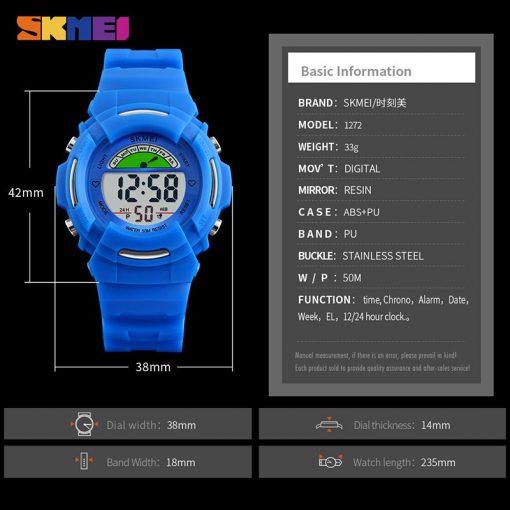 SKMEI New Sports Children Watches Fashion Alarm Watch Kids Back Light Waterproof Boy Digital Wristwatches Girl Relogio Infantil 5