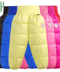 Kids boys pants trousers Autumn Winter high waist Thicken Warm cotton down Long Pants toddler girls trousers Children's Clothes 1