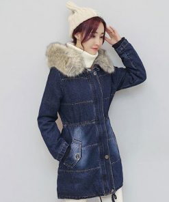 Very warm Denim Jacket for women 2018 European women long chaqueta winter jean Coat Female Hooded Thicken Jacket plus size Z5894 1