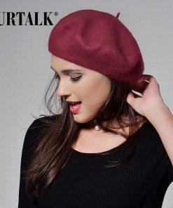 FURTALK 100% wool beret hat for women winter warm hats for girls 2017 new arrivals  1