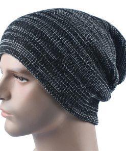 VISNXGI Warm Knitted Hat Women Winter Hat For Women Skullies Beanies Balaclava Warm Winter Cap Men Striped Beanie Hat Wholesale 1