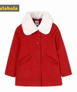 balabala Children Girls Woolen Fashion Coats Autumn Winter Childs Warm Sweet Girl Coats Detachable Collar Clothes For Kid-girl