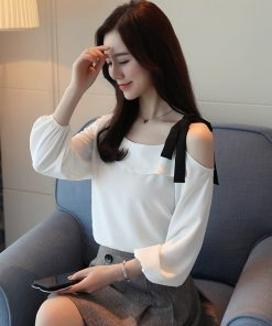 fashion 2018 chiffon women blouse shirt long sleeve sexy slash neck women's clothing pink white feminine tops blusas D436 30 1