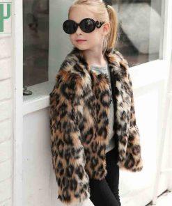 Children's clothing girl Faux Fur Coat Kids Baby Girls Leopard Autumn Winter Jacket Thick Warm Outwear Clothes windbreaker