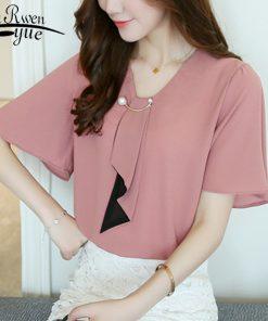New chiffon women blouse shirts fashion 2018 short sleeve plus size feminine tops v-neck women's clothing blouse blusas D560 30