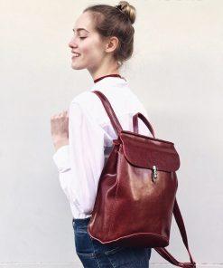 REALER women backpack split leather backpack school bag for girls teenagers vintage backpack large travel female shoulder bag 1