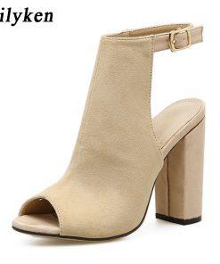 Eilyken 2018 New Summer Fashion Open Toe Women Sandals  Ankle Strap Square heel Back Strap Gladiator Sandals For Women
