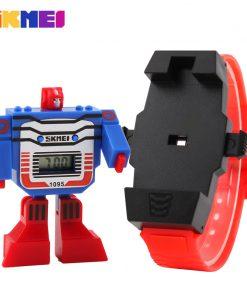 SKMEI Kids LED Digital Children Watch Cartoon Sports Watches Relogio Robot Transformation Toys Boys Wristwatches 1095