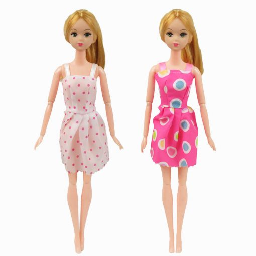 For Original Barbie  5PCS Barbie Doll Clothes &10 Pairs of Random Shoes Doll Accessories Fashion Party Princes Dress Girls Gift 4