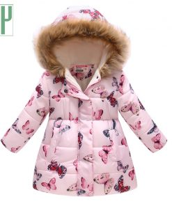 HH Children's Jackets winter jacket girls coat faux fur collar coat Print Long Hooded Outerwear kids down jacketts snowsuit