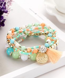 17KM Crystal Multicolor Beads Weave Tassel Bracelet Multilayer Coin Bracelets For Women 2018 New Punk Pulseira Accessories Gift 1