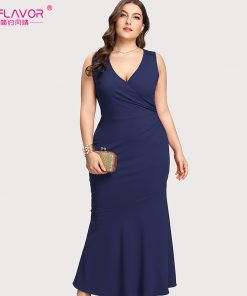 S.FLAVOR Women V-neck sexy nightclub vestidos Hot sale XL-5XL women plus size sleeveless Navy long dress sheath Autumn dress  1