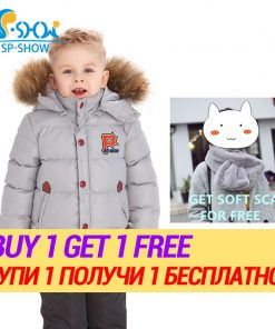 BUY 1 SUIT GET 1 FREE SCARF -30 degrees SP-SHOW Winter 90% White down suit nature fur hat Kids Brand For 2-6 Age Snowsuit 1