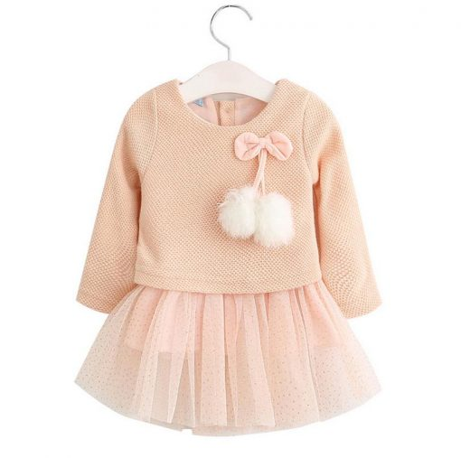 Baby girl dress Knitting Princess Dress spring winter Party for Toddler Girl christening dress Clothing Long sleeve Kids Clothes 3
